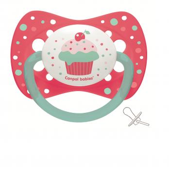 Пустышка силиконовая симметричная Canpol babies Cupcake 6-18 мес Розовый 23/283