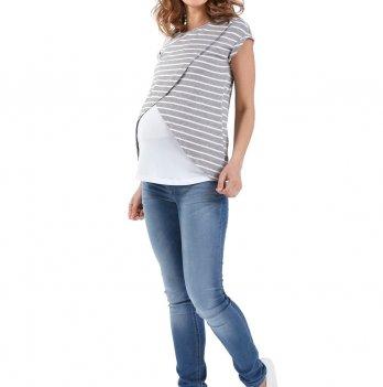 Футболка Хельга для беременных и кормящих ss17, I love mum, серый меланж/белый