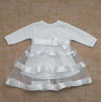 Платье Маленькая Леди, длинный рукав, интерлок Бетис, белый