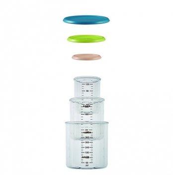 Набор пластиковых контейнеров Beaba (150 мл, 240 мл, 420 мл) - персик/синий/неон