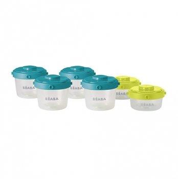Набор из 6-ти контейнеров для хранения Beaba (60 мл + 120 мл) - неон/синий