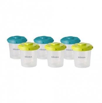 Набор из 6-ти контейнеров для хранения Beaba (200 мл) - неон/синий
