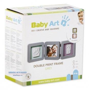 Фоторамка с набором для создания отпечатков Baby Art тройная, серая