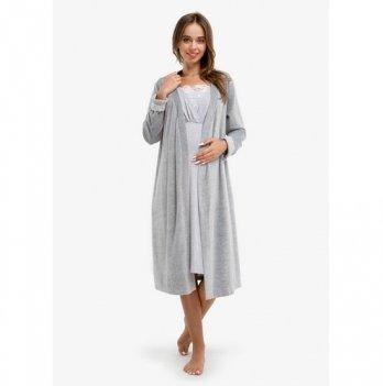 Комплект для беременных и кормящих Creative Mama, MELANGE CHIK , халат + ночная рубашка