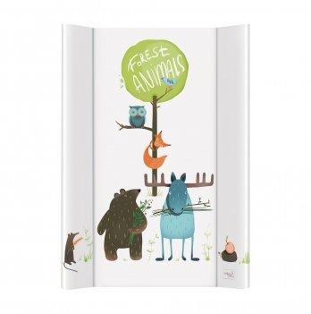 Пеленальный жесткий матрас Ceba Baby Animals, 50х70 см, белый/рисунок животные
