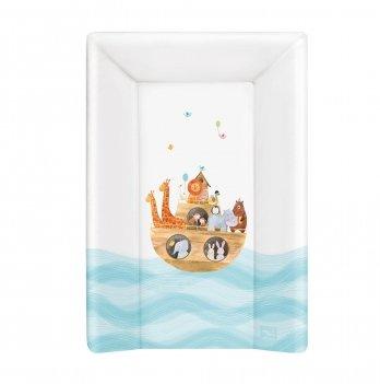 Пеленальный жесткий матрас Ceba Baby Ark, 50х70 см, белый с голубым/рисунок Ноев ковчег
