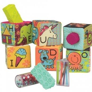 Развивающие кубики-сортеры Battat  ABC, 6 кубиков, мягкие цвета