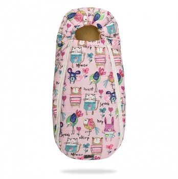 Конверт-кокон на овчине ДоРечі Baby XS Рисунки на розовом фоне, без опушки
