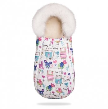 Конверт-кокон на овчине ДоРечі Baby XS. Рисунки на розовом фоне, с опушкой