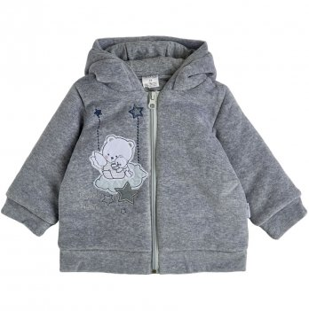 Велюровая куртка для мальчика Garden baby Серый 6-18 мес 105562-01/32