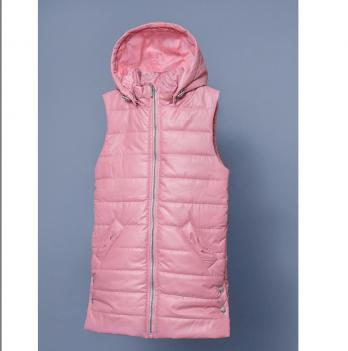 Жилет утепленная для девочки Модный карапуз, с капюшоном, розовый