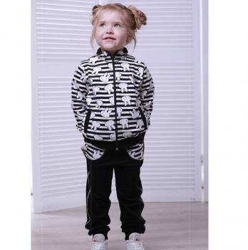 Спортивный костюм для девочки Joiks, возраст от 2 до 7 лет, черный-рисунок