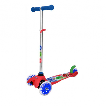 Самокат-скутер лицензионный PJ Masks, трехколесный, красный с синим