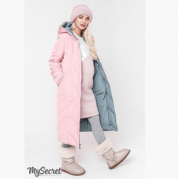 Зимнее двухстороннее пальто для беременных MySecret, оливка/пудра