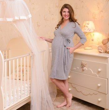 Халат для беременных и кормящих MammaLux, Серый меланж