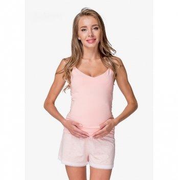 Пижама для беременных и кормящих мам Creative Mama, Persik (топ+шорты)