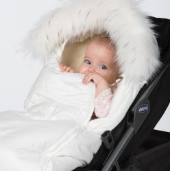 Конверт в коляску на овчине ДоРечі Baby XS Белый с опушкой 1878 О