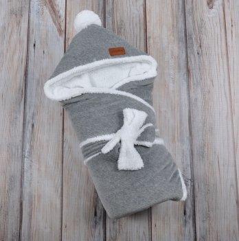 Конверт-одеяло на выписку Magbaby, велюровый на махре, темно-серый меланж