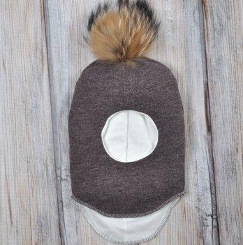Шапка-шлем с бубоном из чернобурки Magbaby коричневый меланж