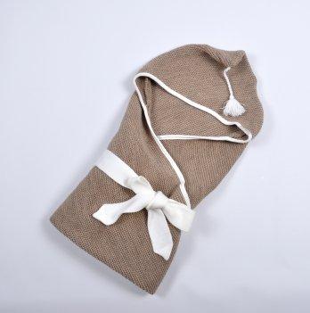 Плед-конверт вязанный Magbaby, с кисточкой, коричневый