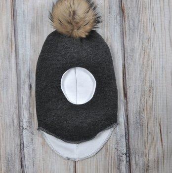 Шапка-шлем с бубоном из чернобурки Magbaby черный меланж