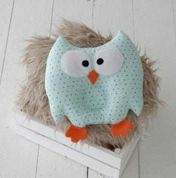 Детская ортопедическая подушка-игрушка Magbaby для новорожденных, Совушка, мятная в цветной горошек