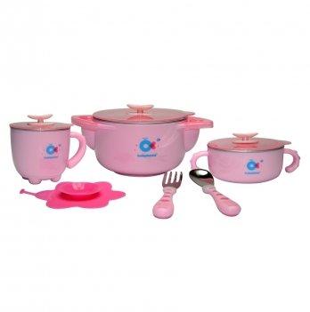 Набор детской посуды Babyhood, 5 в 1, розовый