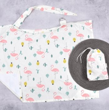 Накидка для кормления MagBaby Кактусы и фламинго + сумочка-чехол