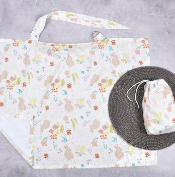 Накидка для кормления MagBaby Зайки и цветы + сумочка-чехол