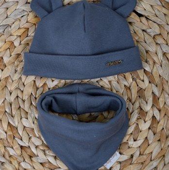 Набор трикотажная шапочка с манишкой Magbaby Мишка темно-серая