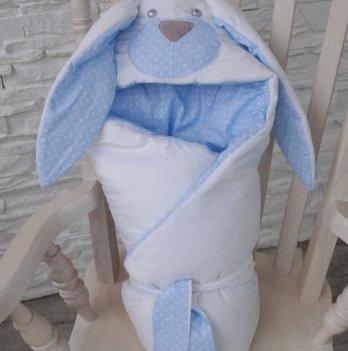 Конверт одеяло Magbaby демисезонный из серии Зверята двухслойный Мамина зайка голубой