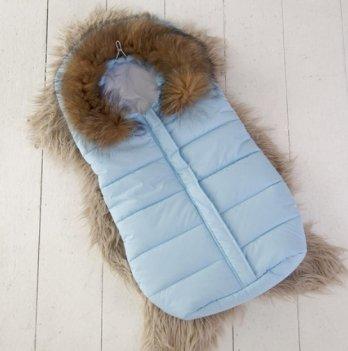 Дутый конверт-мешок Magbaby Snowmen с натуральной опушкой голубой