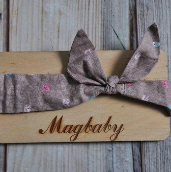 Повязка для девочки MagBaby Солоха, Коричневая с кляксами