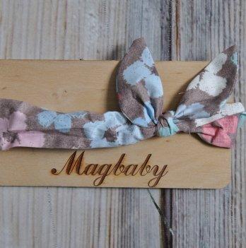 Повязка для девочки MagBaby Солоха, Коричневая с цветами