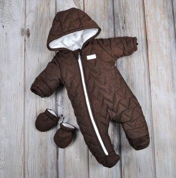 Комбинезон для новорожденных Magbaby, Зигзаг, стеганый, с рукавичками, коричневый