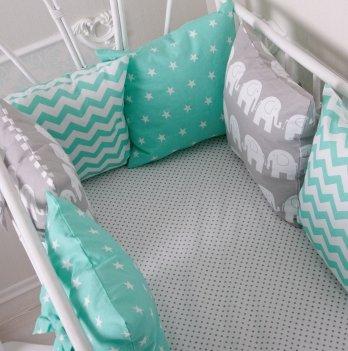Бортики в кроватку Magbaby Классик Мятный 6 подушек на половину кроватки