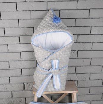 Стёганый конверт с кисточкой, Magbaby, серо-голубой