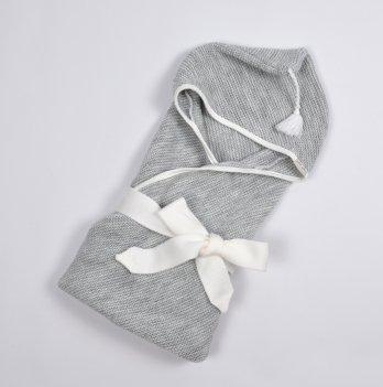 Плед-конверт вязанный Magbaby, с кисточкой, серый