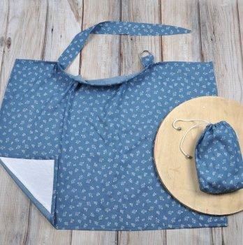 Накидка для кормления MagBaby, Цветочный джинс, + сумочка-чехол