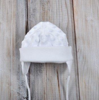 Шапочка плюшевая Magbaby Minky белая 0-3 мес