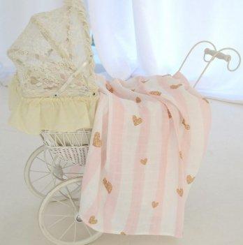 Муслиновая пеленка Embrace Розовая полоска 120х100 см