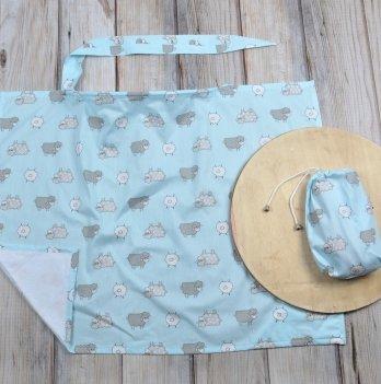 Накидка для кормления MagBaby Барашки на голубом + сумочка-чехол