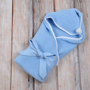 Плед-конверт вязанный Magbaby, с кисточкой, голубой