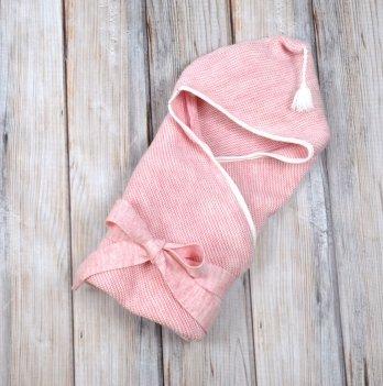Плед-конверт вязанный Magbaby, с кисточкой, розовый меланж