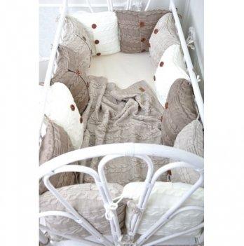 Комплект вязаных бортиков в кроватку Magbaby, 12 подушек+простынь+плед, бежевый
