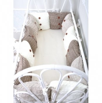 Комплект вязаных бортиков в кроватку Magbaby, 12 подушек+простынь, бежевый