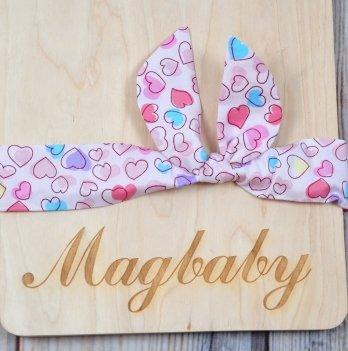 Повязка для девочки MagBaby Солоха, Сердечки розовые