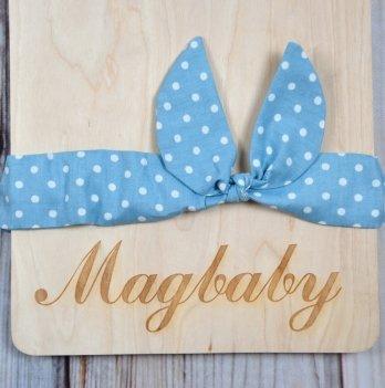 Повязка для девочки MagBaby Солоха, Голубая в горох