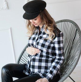 Рубашка для беременных MBerry dress с кружевом, черно-белая