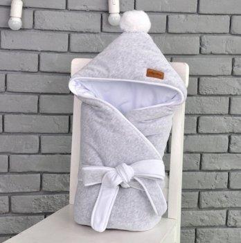 Конверт-одеяло на выписку Magbaby, велюровый на трикотаже, серый меланж